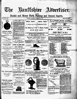cover page of Banffshire Advertiser published on February 28, 1884