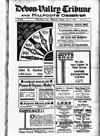 cover page of Devon Valley Tribune published on May 17, 1938