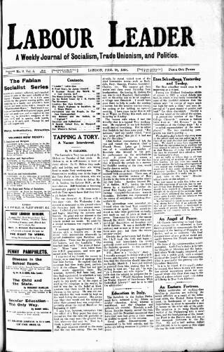 cover page of Labour Leader published on February 28, 1908