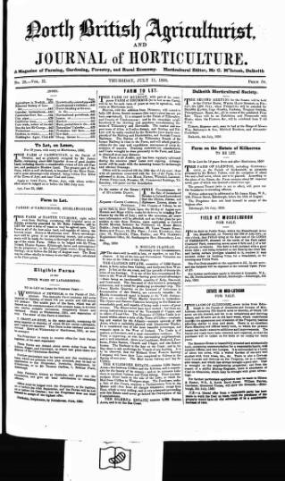 cover page of North British Agriculturist published on July 11, 1850