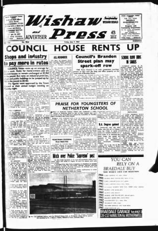 cover page of Wishaw Press published on July 7, 1967
