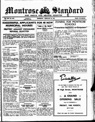 cover page of Montrose Standard published on February 28, 1952