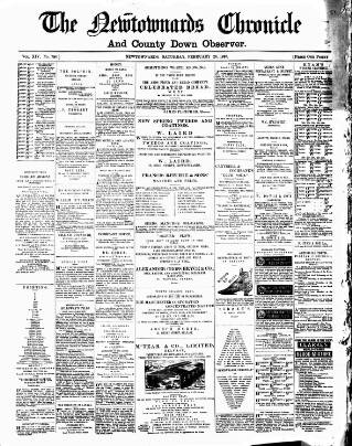 cover page of Newtownards Chronicle & Co. Down Observer published on February 26, 1887