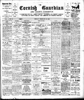 cover page of Cornish Guardian published on February 28, 1902