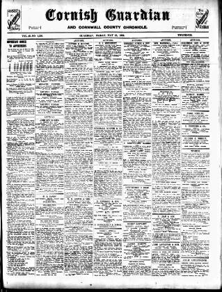 cover page of Cornish Guardian published on May 15, 1925