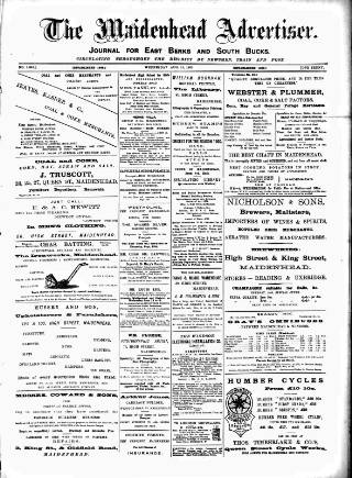 cover page of Maidenhead Advertiser published on August 15, 1900