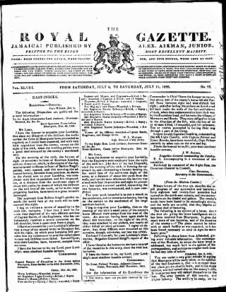 cover page of Royal Gazette of Jamaica published on July 15, 1826