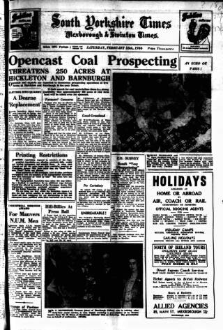 cover page of South Yorkshire Times and Mexborough & Swinton Times published on February 25, 1956