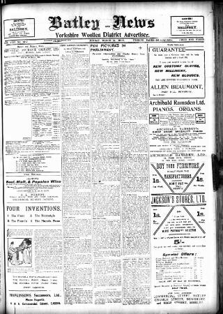 cover page of Batley News published on March 9, 1906