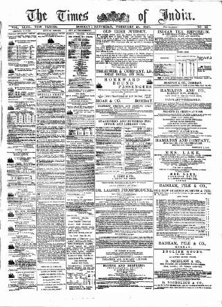 cover page of Times of India published on February 28, 1880