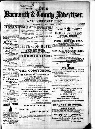cover page of Barmouth & County Advertiser published on February 25, 1891