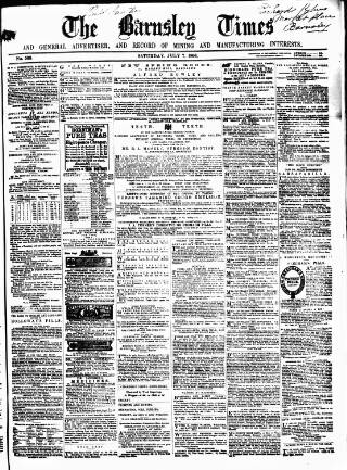 cover page of Barnsley Independent published on July 7, 1866
