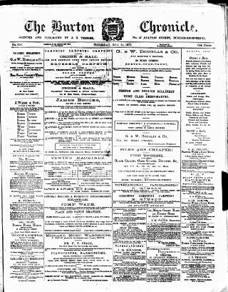 cover page of Burton Chronicle published on May 15, 1873