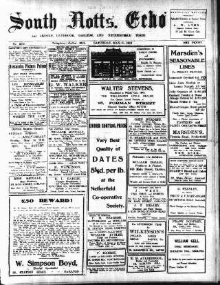 cover page of South Notts Echo published on May 17, 1919