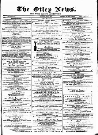 cover page of Otley News and West Riding Advertiser published on July 14, 1876