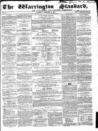 cover page of Warrington Standard and Lancashire and Cheshire Advertiser published on February 12, 1859