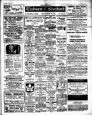cover page of Lisburn Standard published on February 25, 1955