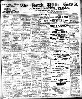 cover page of North Wilts Herald published on February 25, 1916