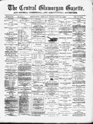 cover page of Central Glamorgan Gazette published on February 25, 1887