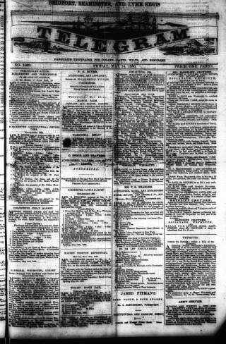 cover page of Bridport, Beaminster, and Lyme Regis Telegram published on May 14, 1886