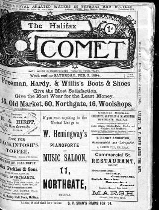 cover page of Halifax Comet published on February 3, 1894