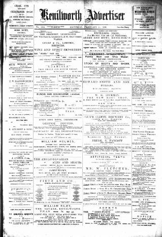 cover page of Kenilworth Advertiser published on February 25, 1899