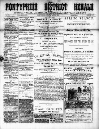 cover page of Pontypridd District Herald published on April 23, 1892