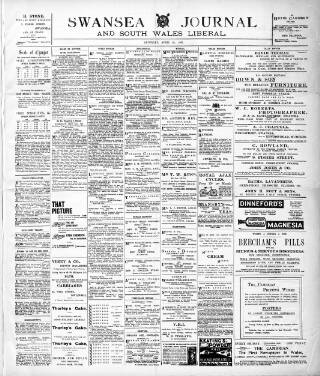 cover page of Swansea Journal and South Wales Liberal published on April 26, 1902