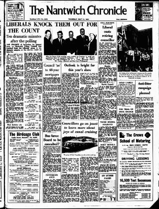 cover page of Nantwich Chronicle published on May 11, 1967