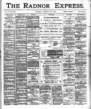 cover page of Radnor Express published on February 25, 1904