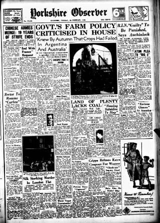 cover page of Bradford Observer published on February 26, 1946