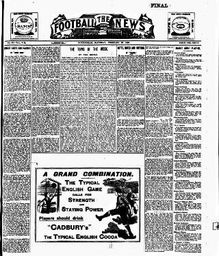 cover page of Football News (Nottingham) published on February 25, 1899