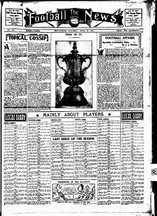 cover page of Football News (Nottingham) published on April 25, 1914