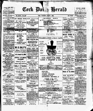 cover page of Cork Daily Herald published on March 9, 1893