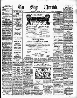 cover page of Sligo Chronicle published on April 23, 1881