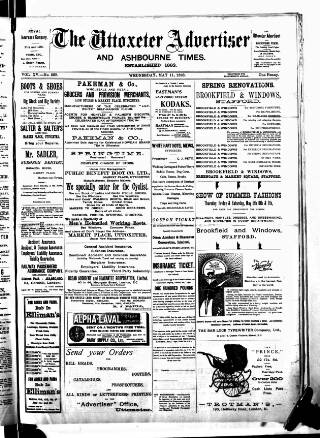 cover page of Uttoxeter Advertiser and Ashbourne Times published on May 11, 1898