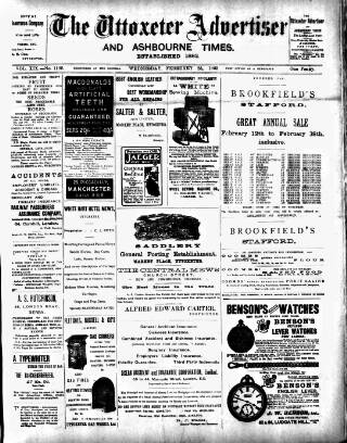 cover page of Uttoxeter Advertiser and Ashbourne Times published on February 25, 1903
