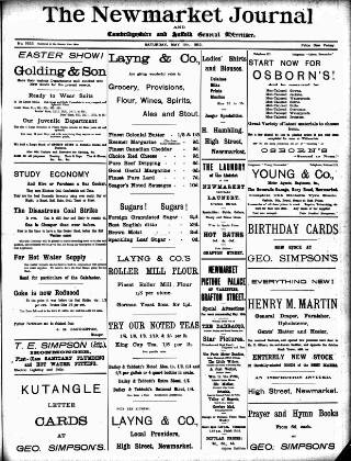 cover page of Newmarket Journal published on May 11, 1912