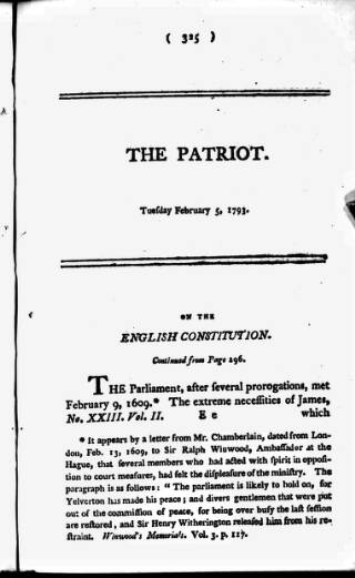 cover page of Patriot; or, Political, Moral, and Philosophical Repository Consisting of Original Pieces published on February 5, 1793