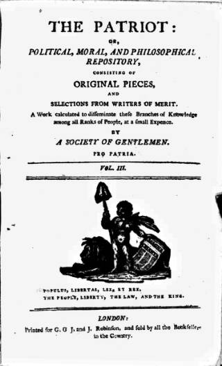 cover page of Patriot; or, Political, Moral, and Philosophical Repository Consisting of Original Pieces published on April 23, 1793