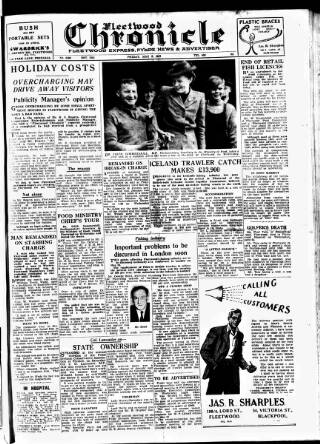cover page of Fleetwood Chronicle published on May 9, 1947