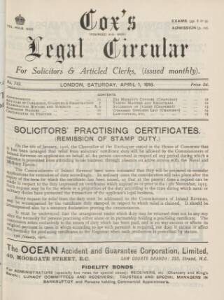 cover page of Cox's Legal Circular published on April 1, 1916
