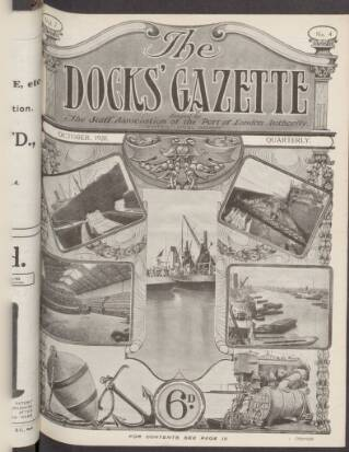 cover page of Docks' Gazette published on October 1, 1920
