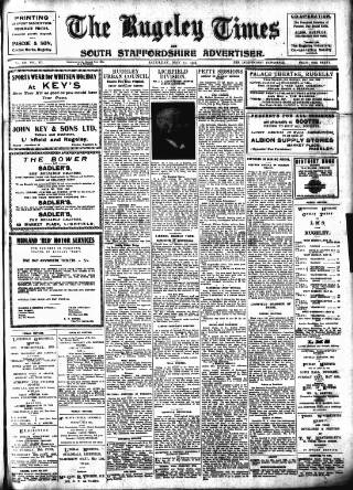 cover page of Rugeley Times published on May 11, 1929