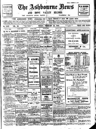cover page of Ashbourne News Telegraph published on February 25, 1916