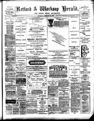 cover page of Retford and Worksop Herald and North Notts Advertiser published on February 25, 1893