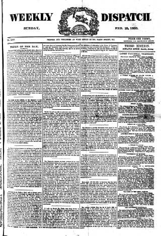 cover page of Weekly Dispatch (London) published on February 25, 1883