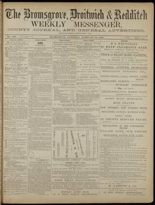 cover page of Bromsgrove & Droitwich Messenger published on February 25, 1888